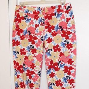 Ann Taylor LOFT Stretch Bright Floral Crop Pants 6